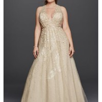 Melissa Sweet Floral Wedding Dress with V-Neckline - Davids Bridal