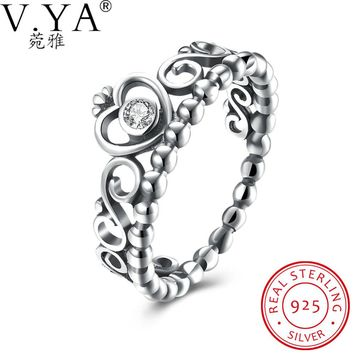 V.Ya925 Sterling Silver My Princess Queen Crown Stackable Rings with Clear CZ Cubic Zirconia