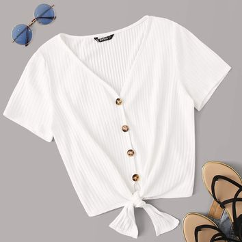 Buttoned Knot Front Rib-knit Top