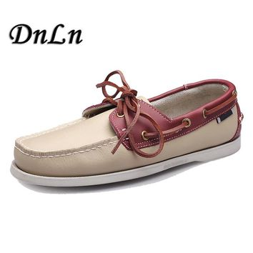Men's Boat Shoes Fashion Handmade Male Moccasins Shoes High Quality Genuine Leather Shoes D50