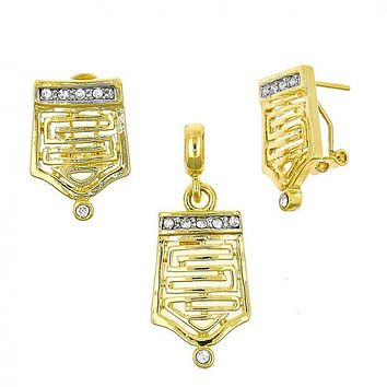 Gold Layered 10.59.0230 Earring and Pendant Adult Set, Greek Key Design, with White Crystal, Polished Finish, Gold Tone
