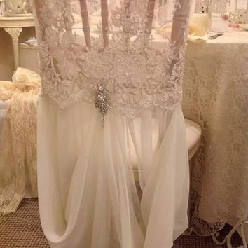 Lace Chiffon Crystal Chair Covers Vintage Romantic Chair Sashes Beautiful Fashion Wedding Decorations