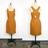 Vintage 90s Cross Back Linen Dress in Goldenrod - women's m