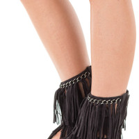 Black Mid Fringe Gladiator Sandal with Chain Cuff Detail