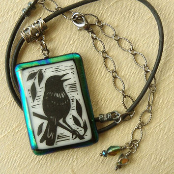 Singing Bird Pendant - Fused Glass Necklace – Blue/Green Rainbow Dichroic Glass - Painted Fused Glass - Leather Cord