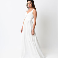 White Pleated Chiffon Illusion Deep V-Neck Dress