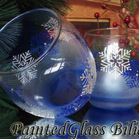 Set of 2 winter hand painted whiskey White and blue Christmas Snowflake glasses