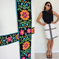 Vintage 60's 70's embroidered black sleeveless party cocktail knee length dress white floral flower