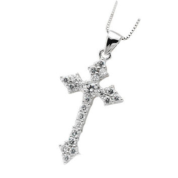 Men's Fashion Necklace Cross Jewelry Sterling Silver Zirconium Stone