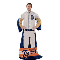 Detroit Tigers MLB Adult Uniform Comfy Throw Blanket w- Sleeves