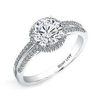 Women's Bony Levy Pave Diamond Two-Row Engagement Ring Setting - White Gold (Nordstrom Exclusive)