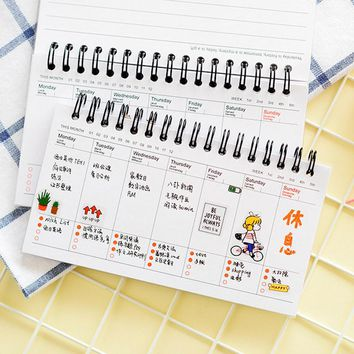 Cute Kawaii Cartoon Weekly Planner Coil Notebook Agenda Filofax For Kids Gift Korean Stationery Free Shipping 2061