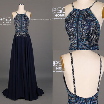 2016 Dark Navy Halter Beading Long Prom Dress/Custom Made Beading Prom Dress/Party Dress/Chiffon Prom Dress Long/Evening Party Dress DH173