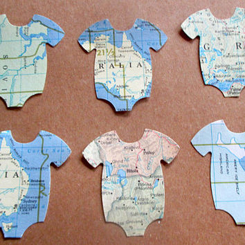 100 Pieces-Onesuit Confetti-Baby Shower Decorations Boy-Travel Theme Baby Showers-Map Onesuit Confetti-Vintage Map Die cuts-Large Confetti-