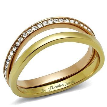 Stacked Rose Gold & 14K Yellow Gold Promise Engagement Wedding Band