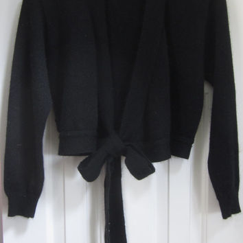 Vintage Cropped Black Sweater Tie Front Cardigan Sweater, Black Bolero, Made in USA, Womens Medium, Open Cardigan