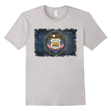 Utah State Flag T-Shirt in Grungy Retro Style