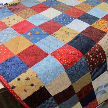 Spring Sale Patchwork Picnic Tablecloth, Quilted Tablecloth, Picnic Quilt, Americana Scrappy Quilt
