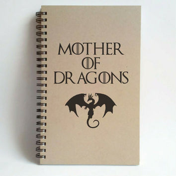 Mother of dragons, 5X8 Journal, spiral notebook, brown kraft notebook, white journal, harry potter gift, diary sketchbook, game of thrones
