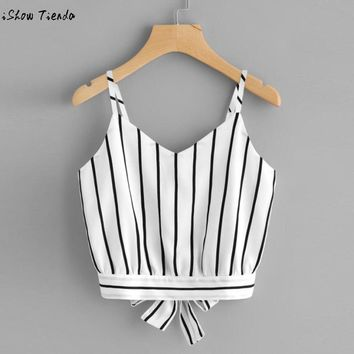 women shirt Crop top summer fashion Striped vest bow Women's Self Tie Back V Neck Striped Crop cami Top Camisole Blouse##
