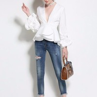 Tandy Ruffled Peplum Blouse