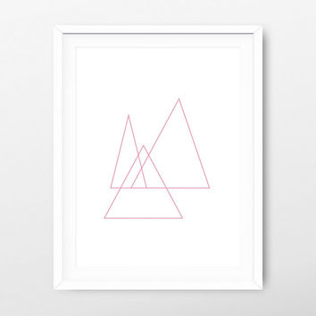 Geometric Triangle Printable Pink - Geometric Wall Art - Geometric Prints - Triangle Printable - Triangle Download - Wall Print