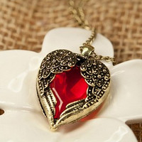 Garabina Red Heart and Wings Necklace - 110502369-4