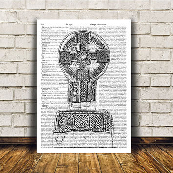 Celtic cross print Medieval art Celt poster Wall decor RTA183