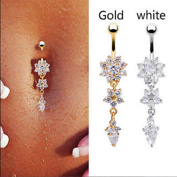 Beauty Crystal Flower Dangle Navel Belly Button Ring Body Piercing Jewelry HU