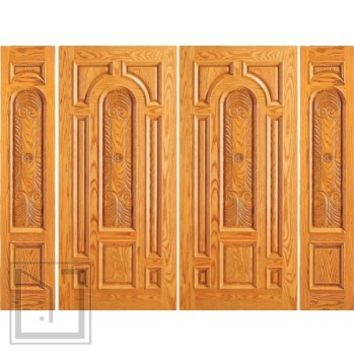 Prehung Entry Double Door 2 Sidelites, Mahogany Carved 8 Panel