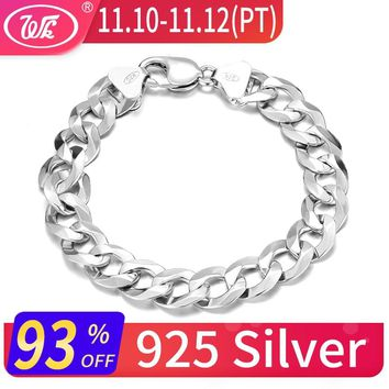 WK Long Thick Men Male Sterling Silver Bracelet 925 Hip Hop Rapper Cuban Curb Chain Bracelet 4MM 5MM 6MM 7MM 8MM 9MM 12MM BM006