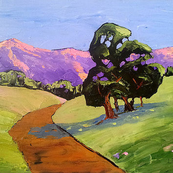 Impressionist Oil Painting CALIFORNIA Plein Air LANDSCAPE Oak Trees Hills Path Lynne French FREE Shipping Art 16x20