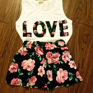 Little Adult LOVE Floral tank top matching floral skater skirt