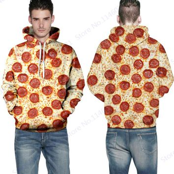 Lots Of Pizza Hooded Hoodies Hip Hop Pullovers Long-Sleeved Skateboarding Sweatshirts Autumn & Winter Jacket Coat With Cap Red