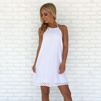 Summer Escape Eyelet Halter Dress In White