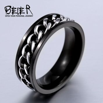 Part Plated-Gold/Black Man's Spin Chain Ring For Stainless Steel Cool Man Woman Jewelry