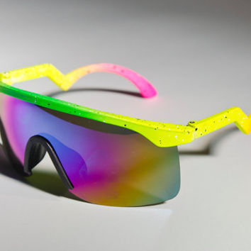 Blaster Oakley Inspired Ski NEON Yellow Green Mirror by Awake87