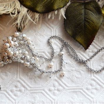 One of a Kind Sterling Silver Pearl Crystal Adjustable Y Cluster Necklace