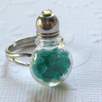 Stained Glass Bottle Jewelry, Bottle Ring, Glass Vial Ring, Glass Vial Jewelry, Potion Ring