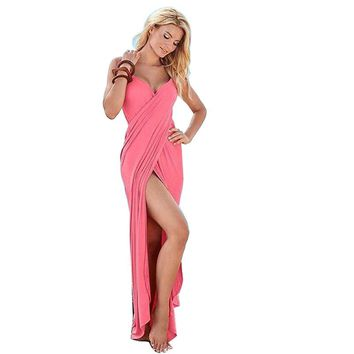 Beach Dresses pool cover Long Maxi Elegant Dress Backless Sexy Strappy Wrap Club Dress