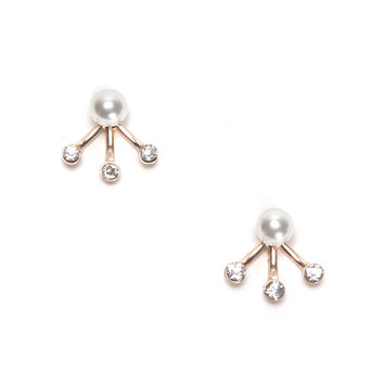 Breathless Gold Pearl Jacket Earrings