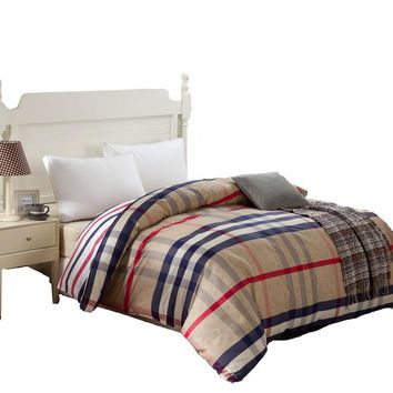 100% cotton duvet cover twin full queen king size blue striped cartoon red plaid gray quilt cover red duvet covers king size