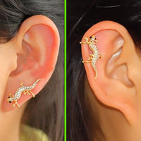 Climbing Lizard Rhinestone Ear Cuff (Single,No Piercing,Adjustable Clip)