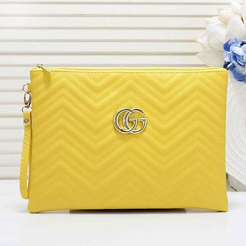 GUCCI Fashion New Solid Color Leather Leisure Clutch Bag Women Yellow