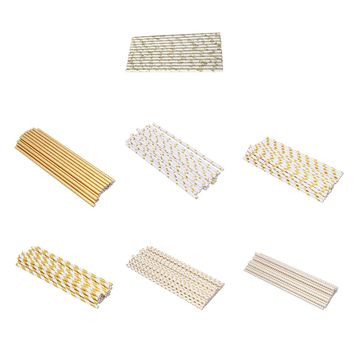 50Pcs/lot Gold Theme Striped Paper Straws Birthday Wedding Decorative Event Party Supplies Retro Disposable Drinking Straws