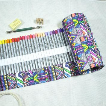 72 Color Pencil Ethnic Colorful Artpack; 72 Roller Pencil Case Roll Pouch