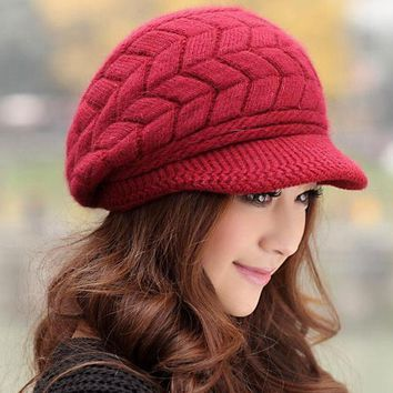 PEAPUNT Elegant Women Hat Winter & Fall Beanies Knitted Hats For Woman Rabbit Fur Cap Autumn And Winter Ladies Female Fashion Skullies