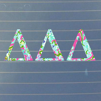 Lilly Pulitzer Inspired Delta Delta Delta Car Decal | Delta Delta Delta Car Sticker | Delta Delta Sorority | Laptop | Greek Stickers | 162