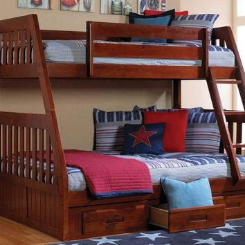 Charlie Merlot Twin over Full Bunk Bed