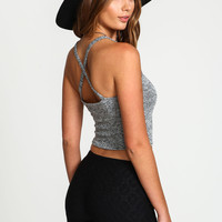 X Back Knit Crop Top